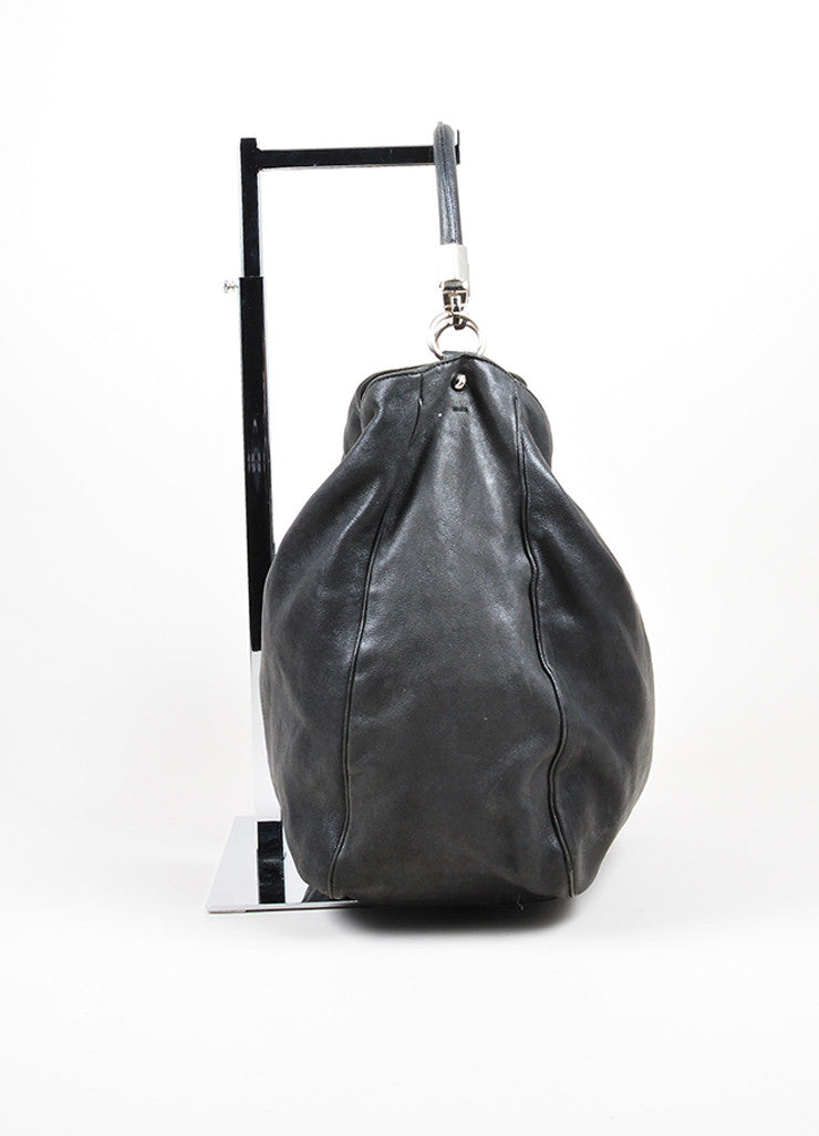 "Black Leather Yves Saint Laurent ""Roady"" Hobo Bag Sideview"