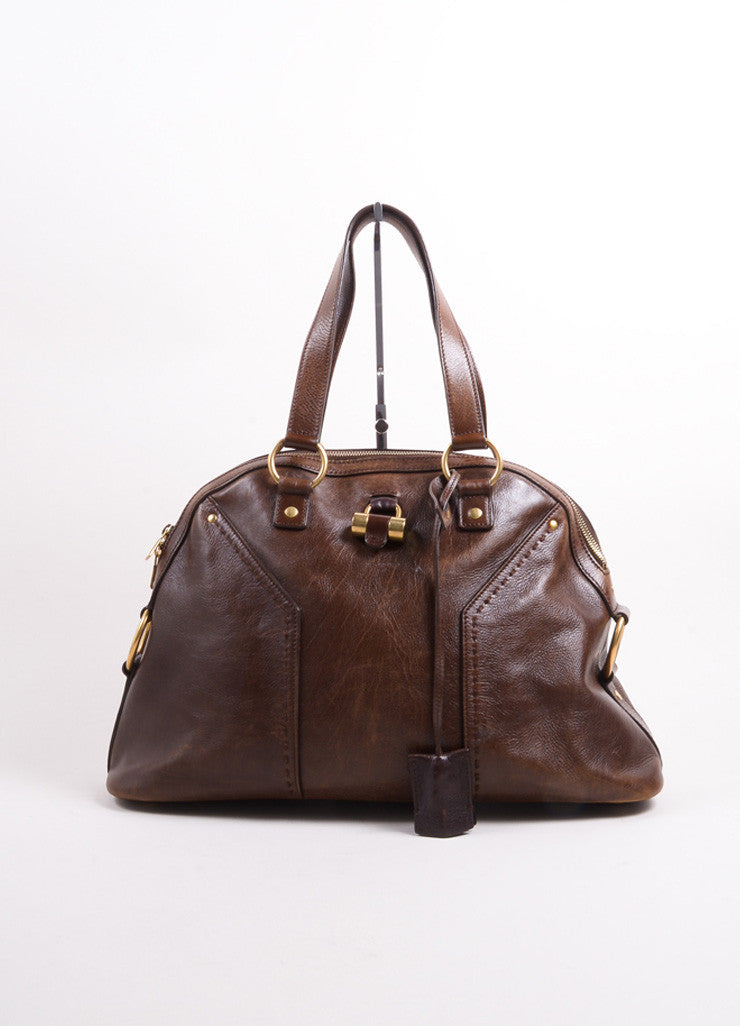 "Yves Saint Laurent Brown Leather ""Muse"" Shoulder Bag Frontview"