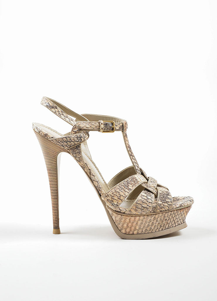 "Tan and Taupe Yves Saint Laurent Python Leather ""Tribute"" Sandal Heels Sideview"