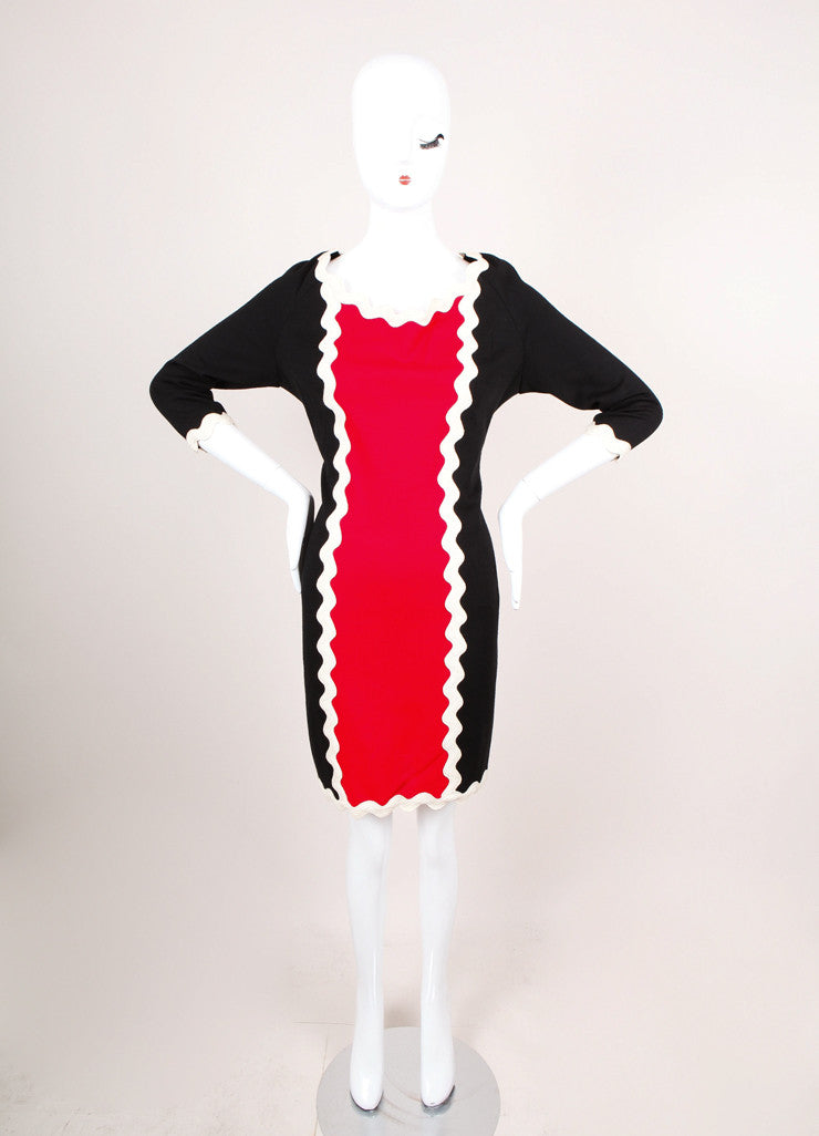 Black, Red, and Cream Shift Dress