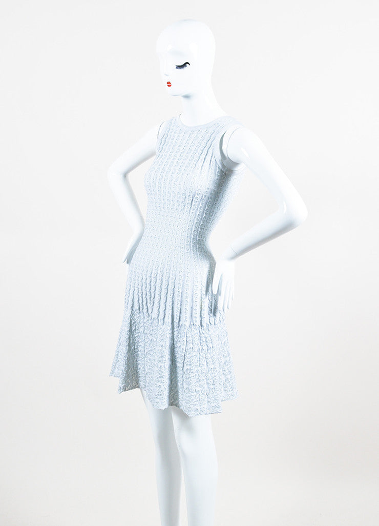 Light Blue Alaia Stretch Ribbed Knit Woven Eyelet Detail Sleeveless Dress Sideview