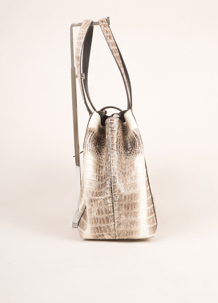 Cream and Grey Alligator Leather Handbag