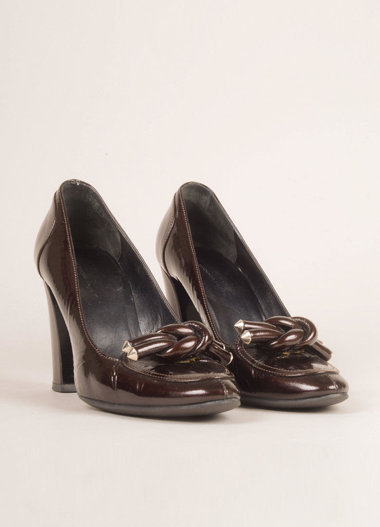 Balenciaga Brown Patent Leather Knotted Loafer Pumps Frontview