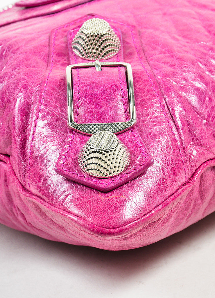 "Balenciaga Pink Leather Silver Toned Studded ""Giant 21 Wristlet Clutch"" Bag Detail"