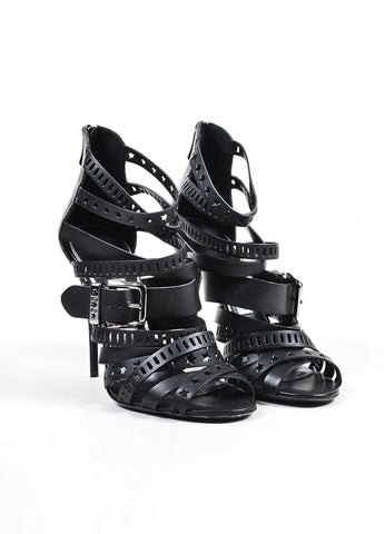 Black Balmain Leather Star Laser Cut Cage Sandal Heels Frontview