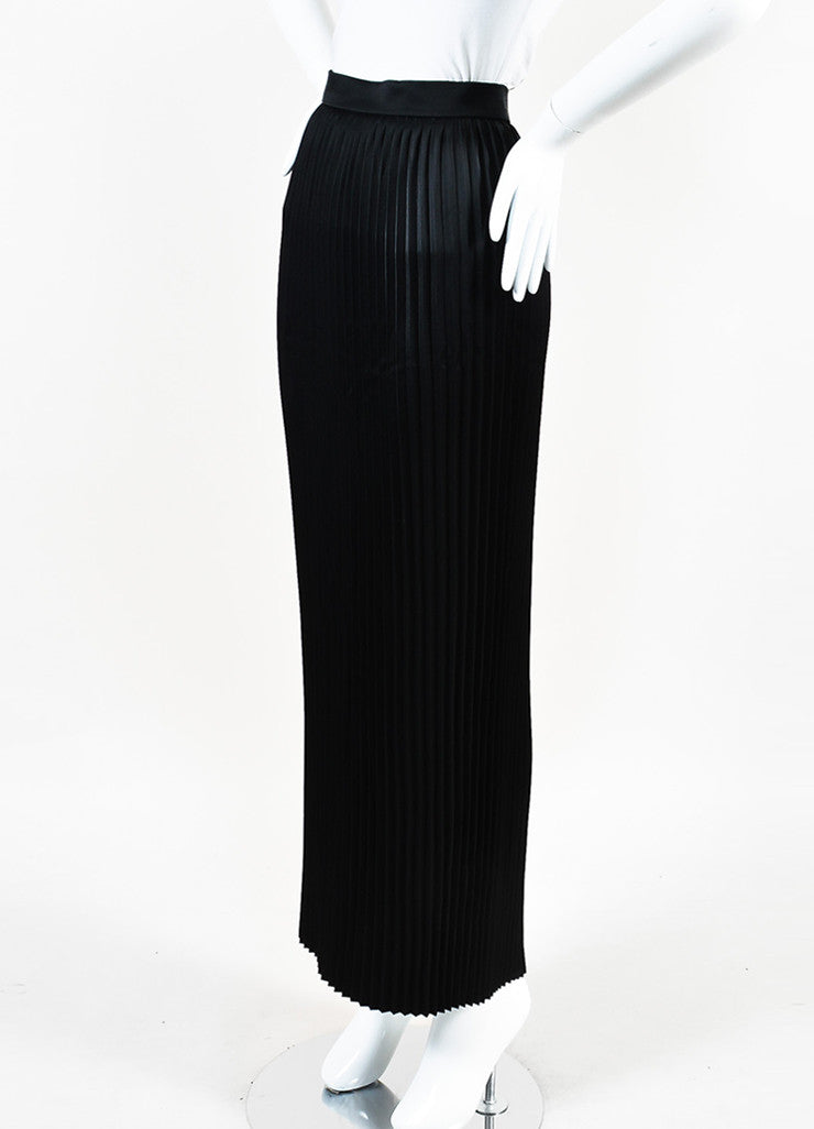 Balmain Black Satin Accordion Pleated Maxi Skirt Sideview