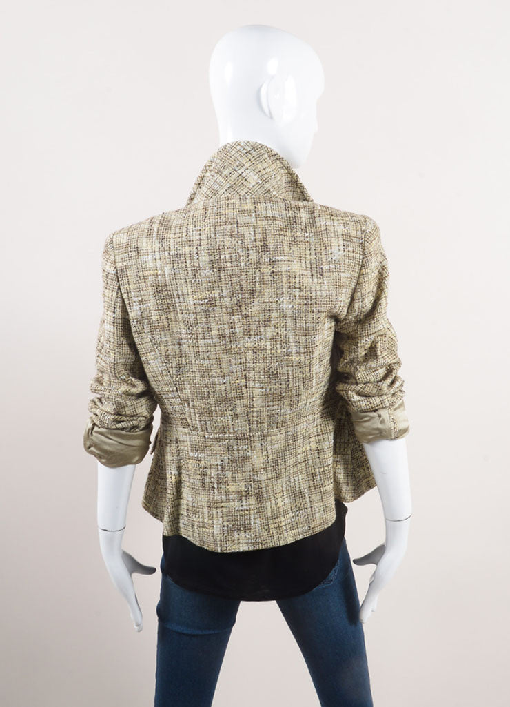 Chanel Cream and Brown Woven Knit Patterned Long Sleeve Jacket Backview