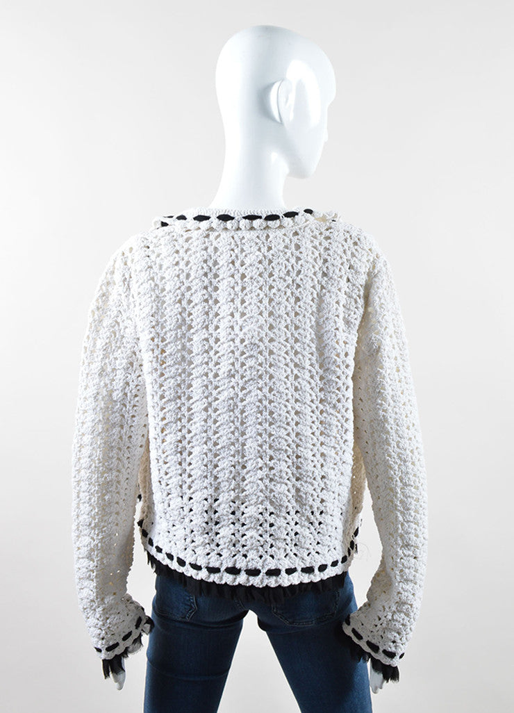 Chanel White Black Crochet Knit Ruffle Trim Cardigan Backview
