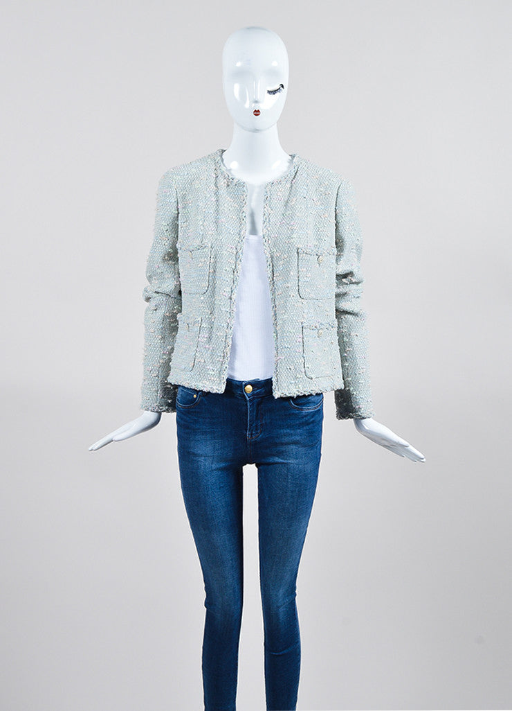Pastel Blue and Multicolor Chanel Sequin Boucle Open Jacket Frontview