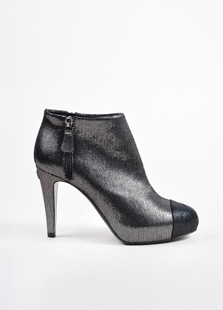 Chanel Black and Silver Metallic Patterned Cap Toe Heeled Booties Sideview