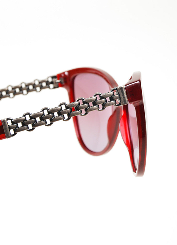 "Red Chanel Acetate ""5326"" Chain Butterfly Sunglasses Detail"