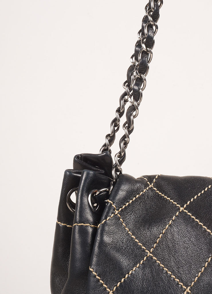 "Chanel Black Lambskin Leather Contrast Quilted Chain Strap ""CC"" Shoulder Bag Detail 2"