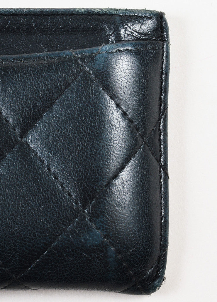 Chanel Black Lambskin Quilted Leather 'CC' Card Holder Detail
