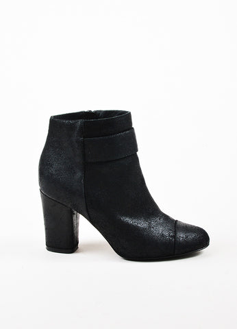 Black Chanel Coated Leather Cap Toe Ankle Boots Side