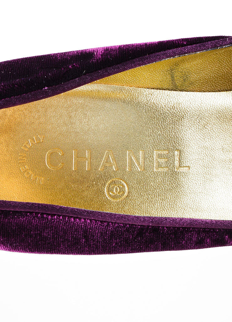 "Purple Velvet Chanel ""CC"" Platform Pumps Brand"