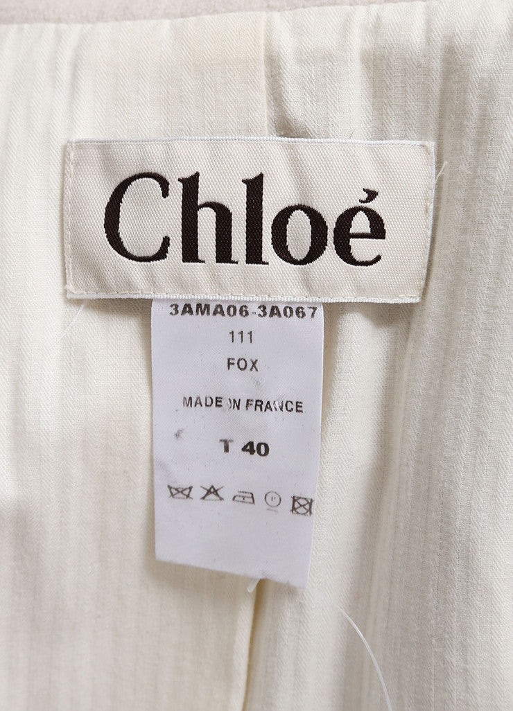 Chloe Cream and Black Wool and Satin Trim Long Sleeve Trench Coat Brand