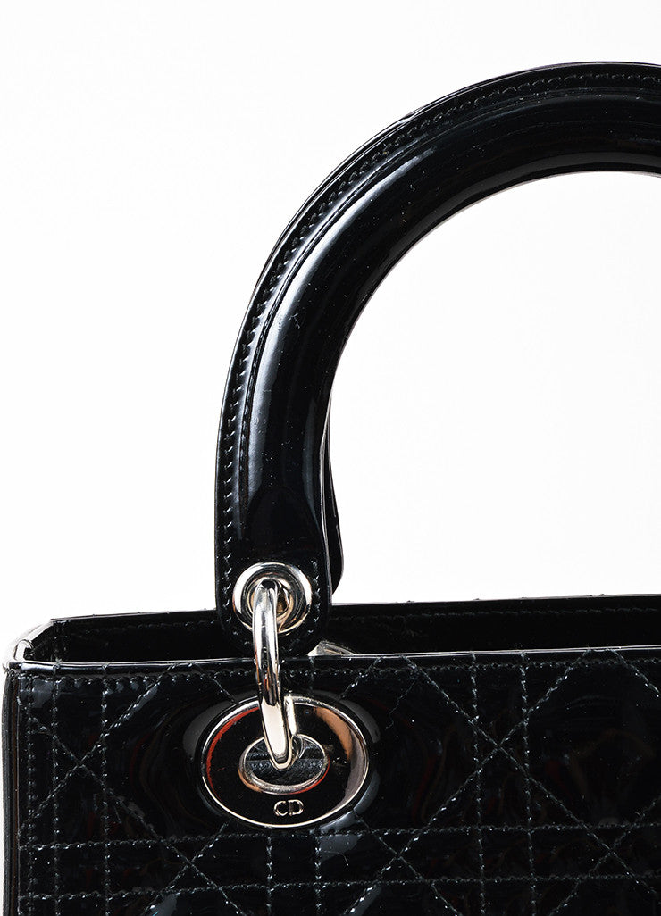 "Christian Dior Black Patent Leather Cannage Quilted Medium ""Lady Dior"" Handbag Detail 2"