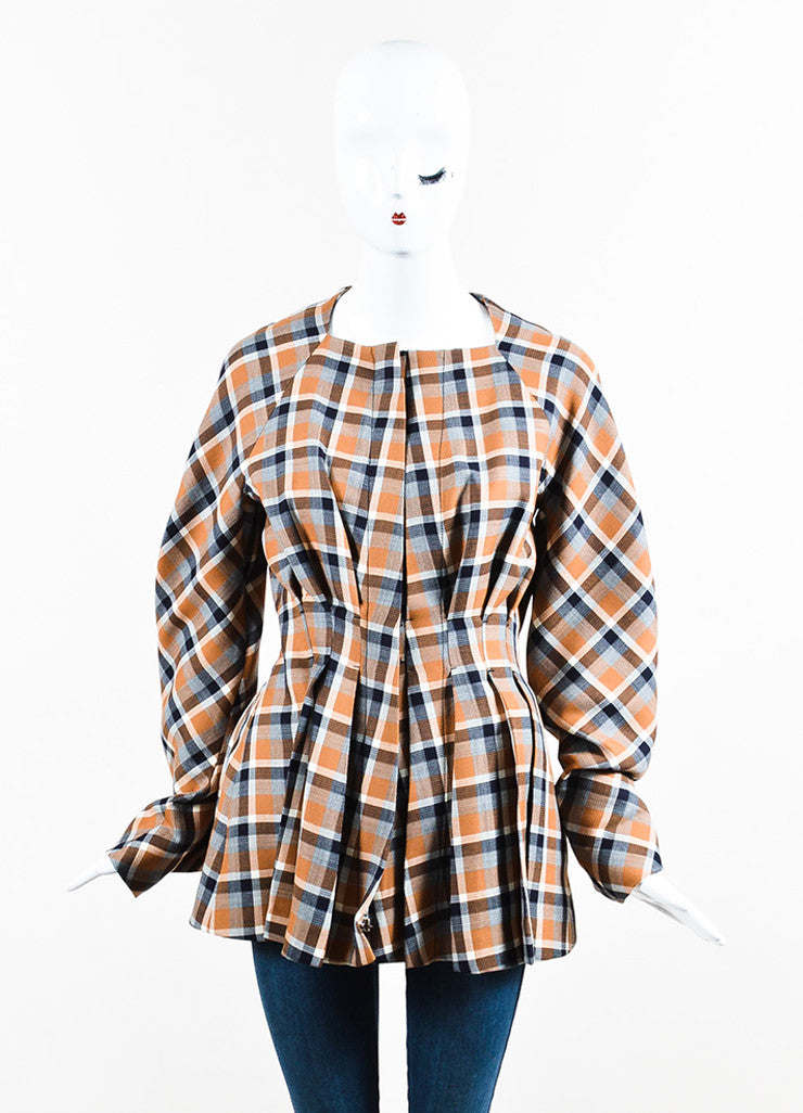 Multicolor Christian Dior Wool Blend Plaid Pleated Peplum Jacket Front 2