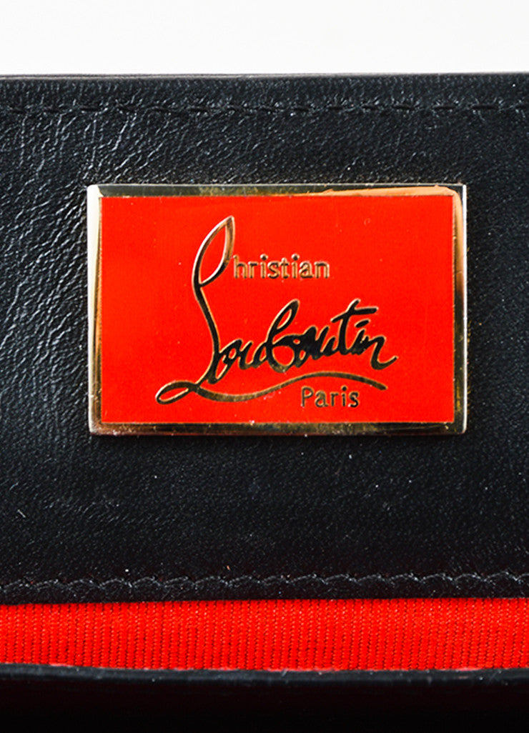 "Black Leather Christian Louboutin ""Sweet Charity Case"" Envelope Clutch Bag Brand"