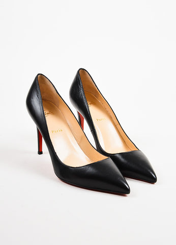 "Christian Louboutin Black Leather ""Pigalle 100"" Pointed Toe Pumps Front"