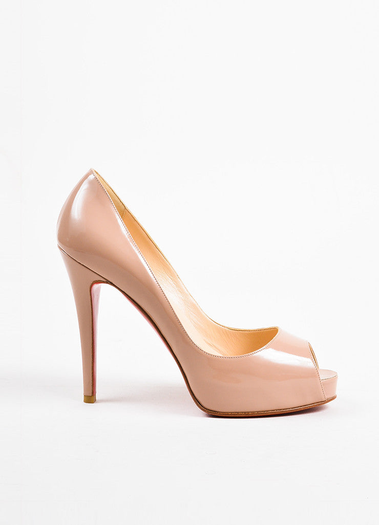 "Christian Louboutin Nude Patent Leather Peep Toe ""Very Prive"" Pumps Sideview"