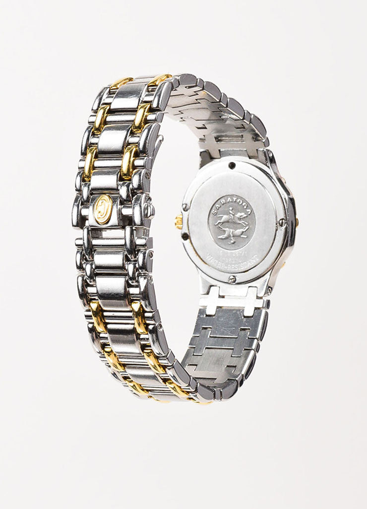 "Concord Stainless Steel, 18K Yellow Gold, and Diamond ""Saratoga"" Bracelet Watch Backview"