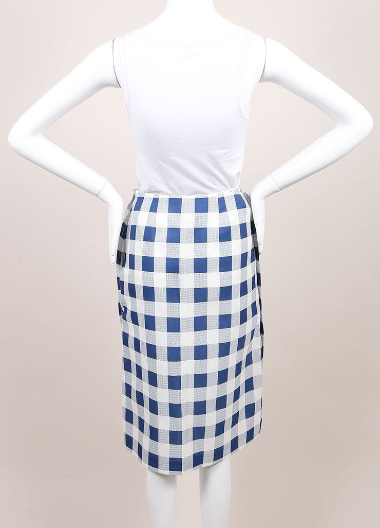 Derek Lam New With Tags Blue and White Checkered Plaid Silk Blend Seamed Skirt Backview