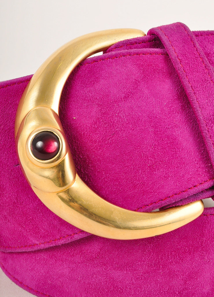 Donna Karan Collection Magenta Suede Gold Toned Buckle Belt Detail
