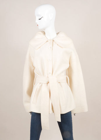 Escada Cream Wool Oversized Collar Bell Sleeve Belted Coat Frontview