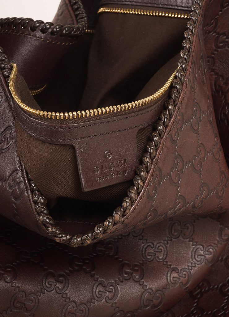 "Gucci Chocolate Brown Leather Large Horsebit ""Guccissima"" Hobo Bag Brand"