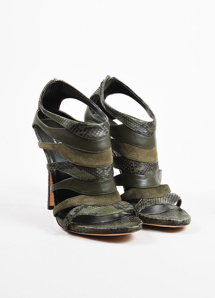"Olive Green Gucci Python Leather Cage Heeled ""Soraya"" Sandals Front"