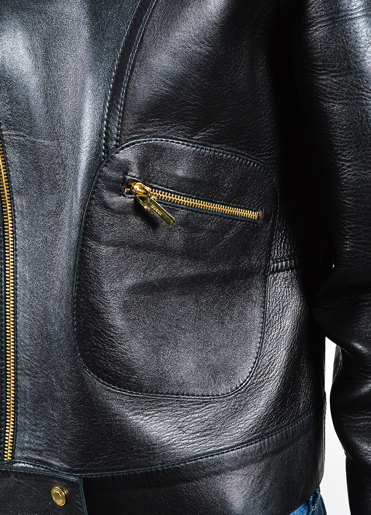 Gucci Black Leather Gold Toned Moto Zip Jacket Detail