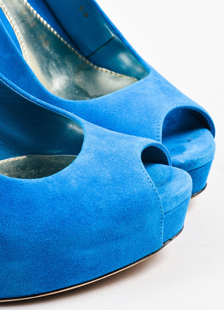 Gucci Bright Blue Suede Peep Toe Platform Slingback Pumps Detail