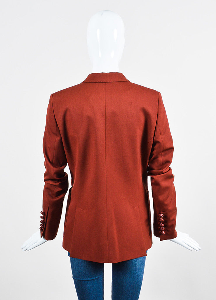 Brick Red Gucci Wool Long Sleeve Blazer Jacket Backview