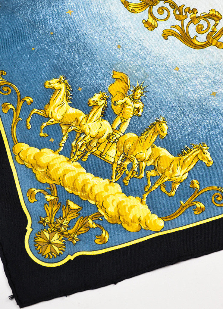 "Hermes Blue Black Yellow Gold Silk Grecian Print ""Cosmos"" Handkerchief Detail"