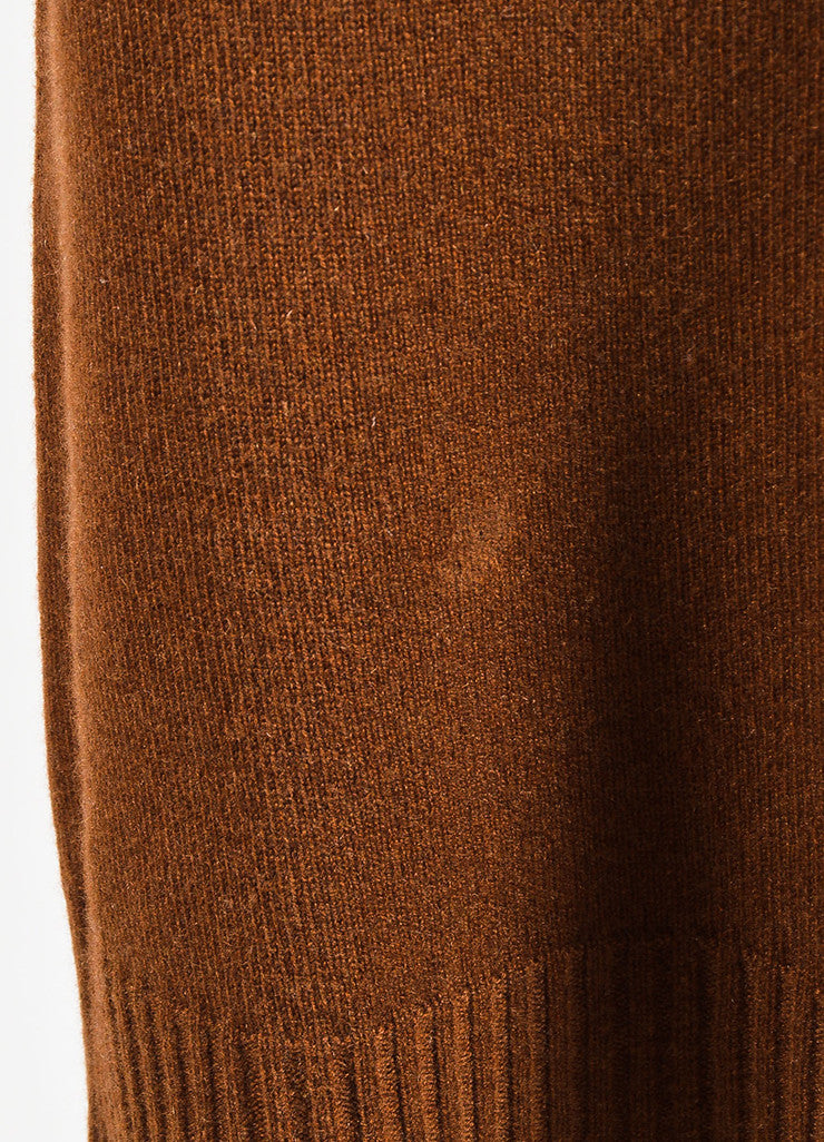 Hermes Brown Turtleneck Ribbed Trim Sleeveless Sweater Dress Detail