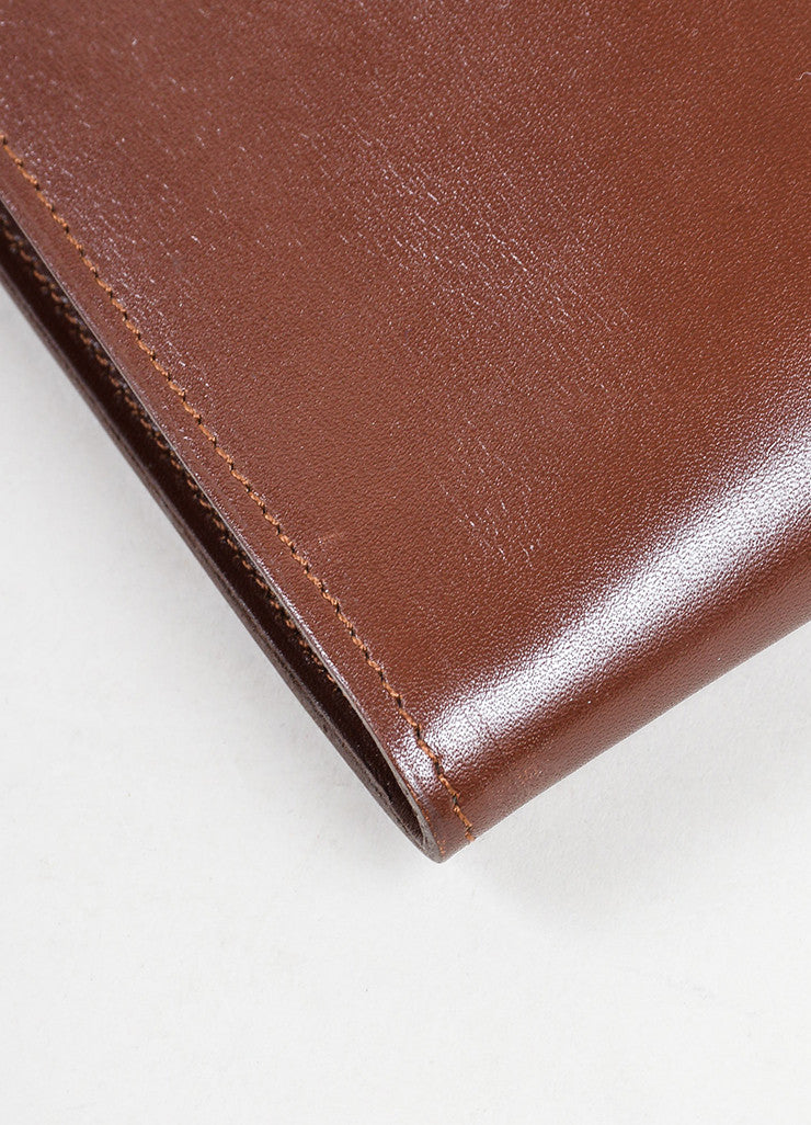 "Dark Brown Leather Hermes ""Onimaitou"" Flat Pouch Crossbody Bag Detail"