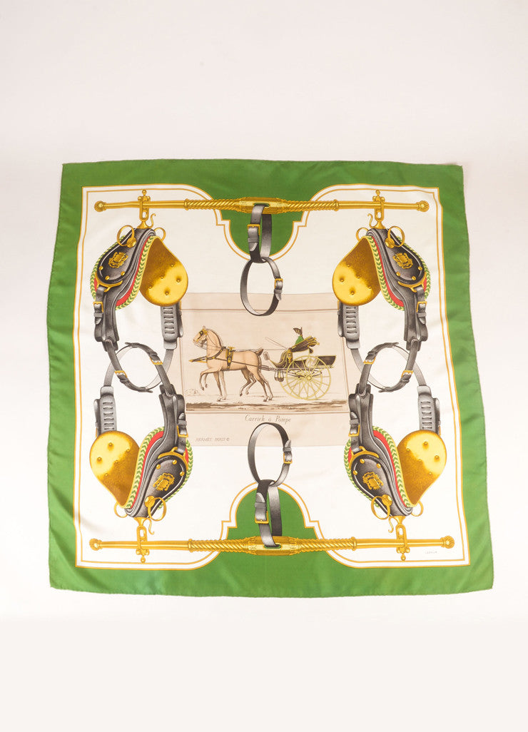 "Hermes White, Gold, and Green Silk ""Carrick a Pompe"" Carriage Saddle Print Scarf Frontview 2"
