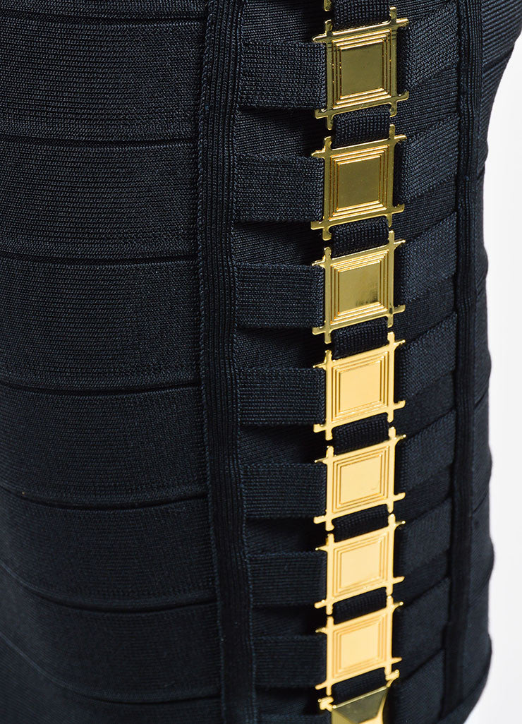 Black and Gold Herve Leger Bandage Knit Buckle Sleeveless Bodycon Dress Detail