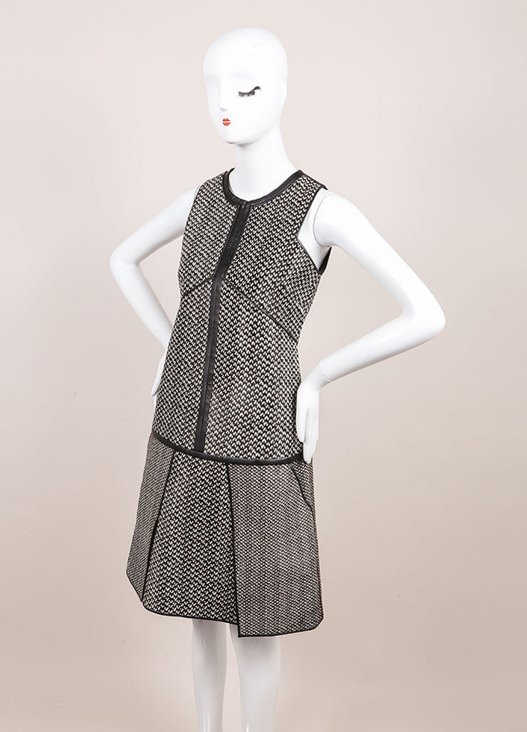 J. Mendel New With Tags Black and White Haircalf Leather Dropped Waist Dress Sideview