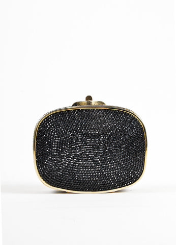 Judith Leiber Black Rhinestone Crystal Chain Strap Small Minaudiere Clutch Bag Frontview