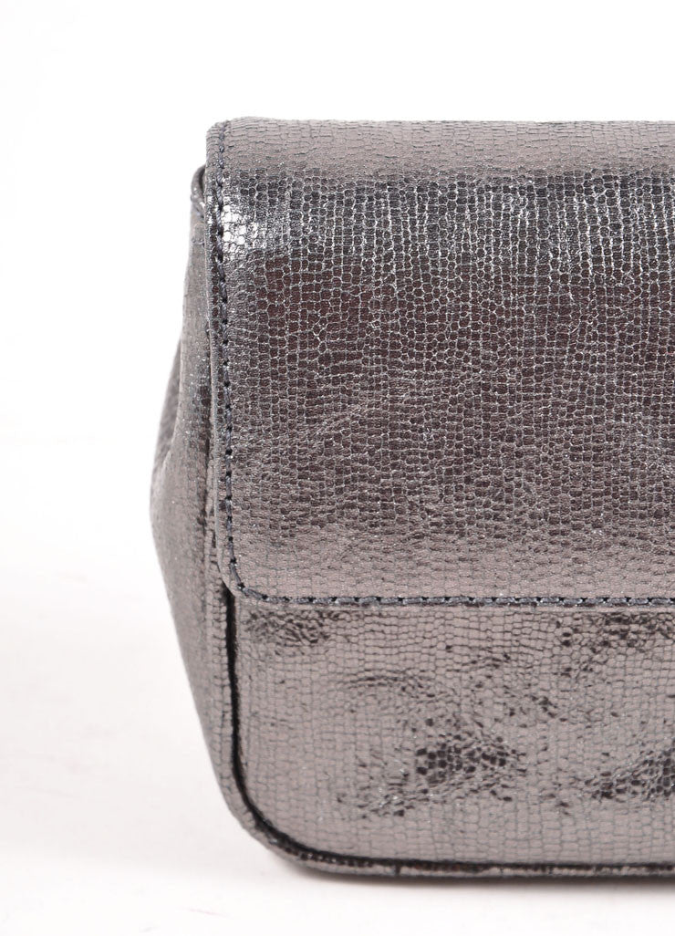 Judith Leiber Grey Metallic Leather Chain Strap Clutch Bag Detail 2
