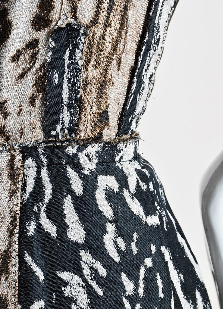 Lanvin Black and Brown Animal Print Pleated Sleeveless Dress Detail