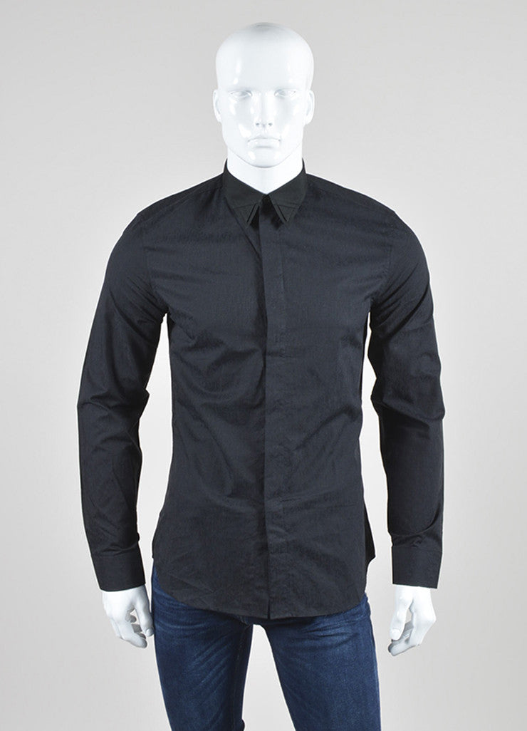 Black Givenchy Cotton Button Down Point Collar Long Sleeve Shirt Front