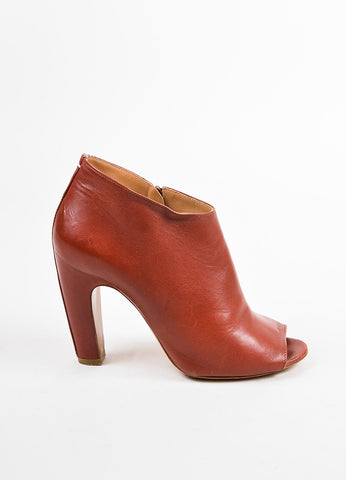 Maison Martin Margiela Rust Orange Leather Peep Toe Heeled Booties Sideview