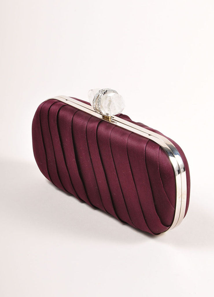 "Marchesa Burgundy Red Gathered Satin Quartz Latch ""Lily"" Clutch Bag Sideview"