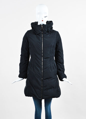 "Black Moncler Nylon Mid Length ""Renne"" Down Puffer Coat Frontview 2"