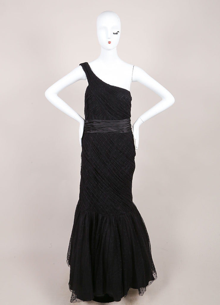 Black Organza Dotted One Shoulder Gown