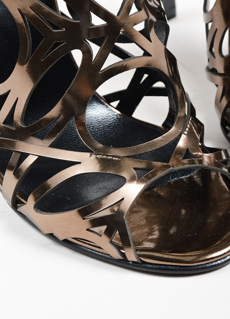 Taupe Metallic Pierre Hardy Patent Leather Cut Out Sandal Heels Detail