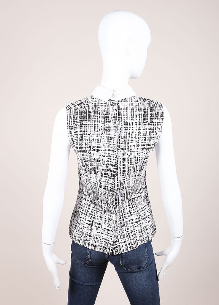 Prada White and Black Woven Graphic Print Sleeveless Top Backview